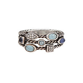 David Yurman 925 Sterling Silver Confetti Three-Row Blue Topaz Iolite 0.07ctw Diamond Ring size 9.5