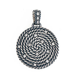 David Yurman Sterling Silver Cable Coil Diamond Pendant