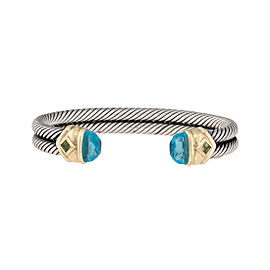 David Yurman 925 Sterling Silver 14K Yellow Gold Topaz Peridot Cuff Bracelet