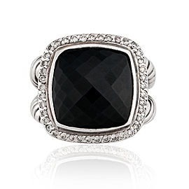 David Yurman Sterling Silver Albion Onyx and Diamonds Ring Size 5.75
