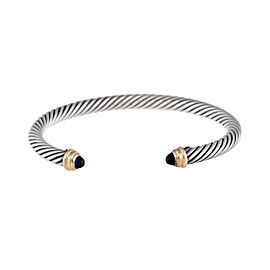 David Yurman Sterling Silver With 14K Yellow Gold and Cabochon Onyx 5mm Cable Cuff Bracelet