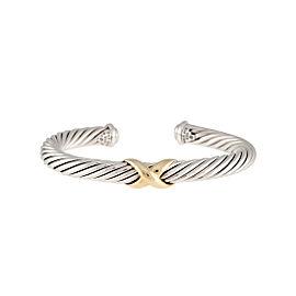 David Yurman Sterling Silver X Bracelet with 14K Yellow Gold