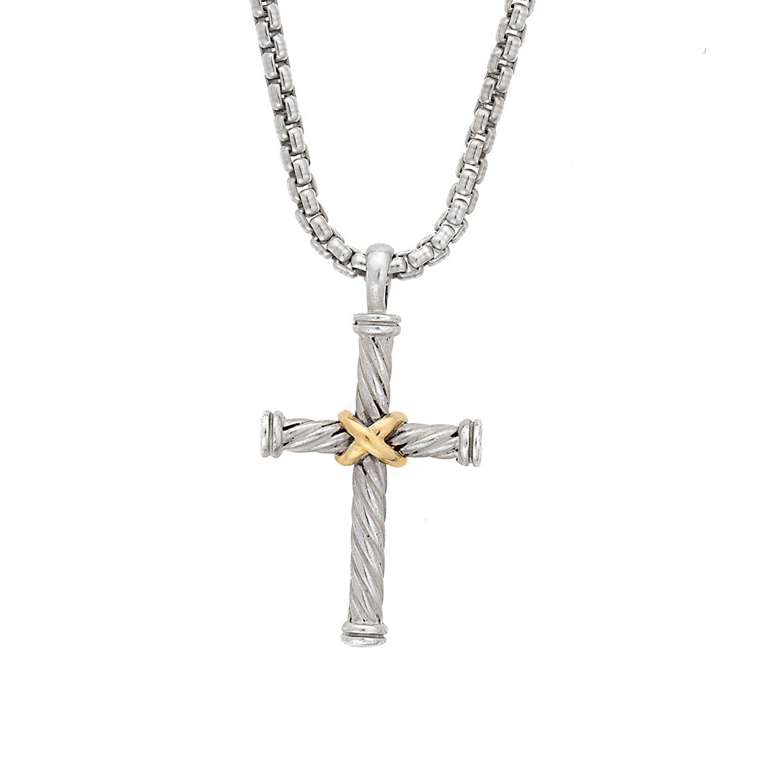 DAVID YURMAN Sterling /& 18Kt Gold Cable Cross Pendant