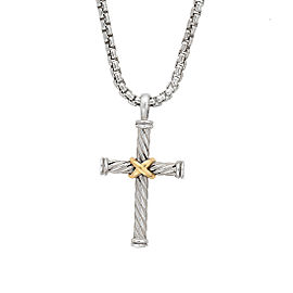 David Yurman Sterling Silver & 18K Yellow Gold Cable Cross Pendant Necklace