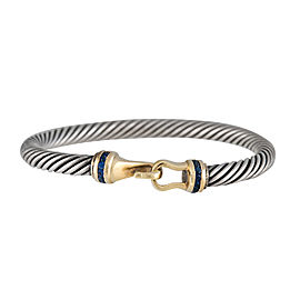 David Yurman Sterling Silver and 14K Yellow Gold Sapphire Bracelet