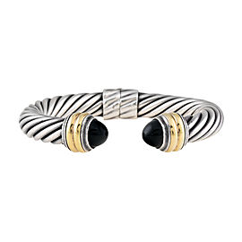 David Yurman Sterling Silver and 14k Yellow Gold Black Onyx Hinged Cable Bracelet