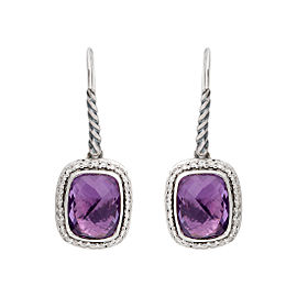 David Yurman Sterling Silver Noblesse Drop Amethyst 0.37ct. Diamonds Earrings