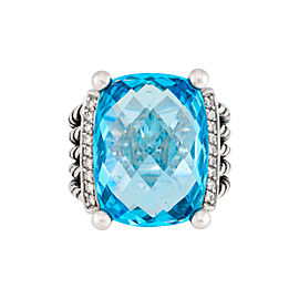 David Yurman Sterling Silver with Blue Topaz and 0.13ctw Diamonds Wheaton Ring Size 7