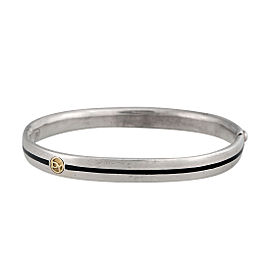 David Yurman Sterling Silver and 18K Yellow Gold Hinged Bangle Bracelet