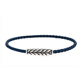 David Yurman Sterling Silver Chevron Leather Bracelet