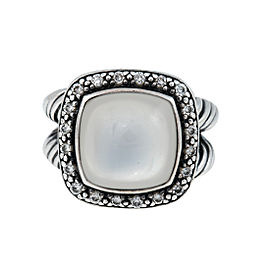 David Yurman Sterling Silver Metallic Albion With Moon Quartz & 0.30ct. Diamonds Ring Size 5