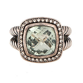 David Yurman Albion Sterling Silver Prasiolite and 0.30ct Diamond Ring Size 6