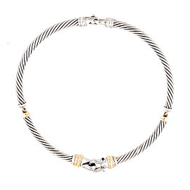 David Yurman 18K Yellow Gold and Silver 0.25ct. Diamond Choker Necklace