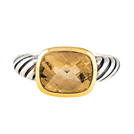 David Yurman Noblesse 18K Yellow Gold and Sterling Silver Citrine Ring Size 7
