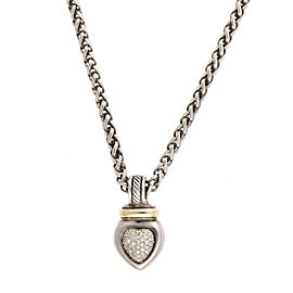 David Yurman 925 Sterling Silver 14K Yellow Gold 0.60ctw Diamond Heart Pendant Necklace