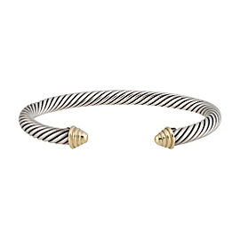 David Yurman Sterling Silver and 14K Yellow Gold Cable Cuff Bracelet