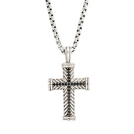 David Yurman Sterling Silver with 0.65ctw Black Diamond Chevron Cross Pendant Necklace