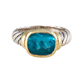 David Yurman Sterling Silver & 14K Yellow Gold with Topaz Noblesse Ring Size 5.75