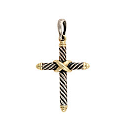 David Yurman 925 Sterling Silver 14K Yellow Gold Cross Pendant