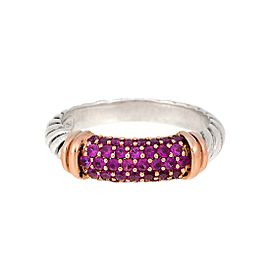 David Yurman Sterling Silver and 18K Yellow Gold Pink Sapphire Cable Candy Metro Ring Size 7.25
