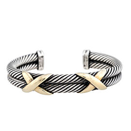 David Yurman Sterling Silver and 14K Yellow Gold X Cable Cuff Bracelet