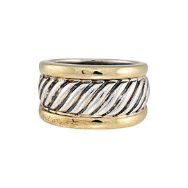 David Yurman 925 Sterling Silver 14K Yellow Gold Cable Ring Size 7