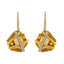 David Yurman 18K Yellow Gold Champagne Citrine Diamonds Cable Wrap Drop Earrings