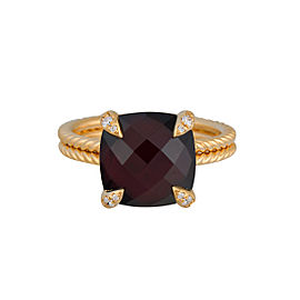 David Yurman 18k Yellow Gold Garnet and Diamonds Châtelaine Ring Size 7