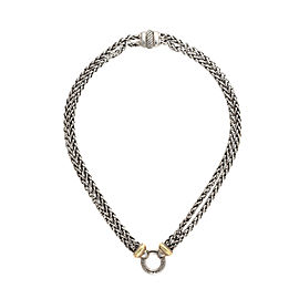 David Yurman 925 Sterling Silver 18K Yellow Gold Double Wheat Chain Necklace