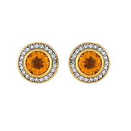 David Yurman Cerise 18k Yellow Gold With Citrine 0 40ctw Diamonds Earrings