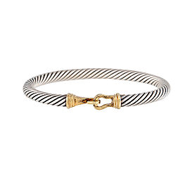 David Yurman Cable Classic Sterling Silver & 14K Yellow Gold Buckle Bracelet