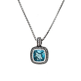 David Yurman Sterling Silver and 14K Yellow Gold Blue Topaz Albion 0.20ct. Diamond Necklace