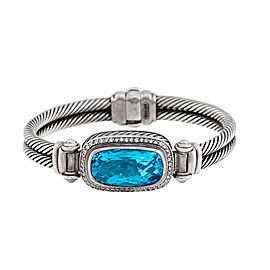 David Yurman Sterling Silver with Blue Topaz & 0.48ctw Diamonds Double Cable Hinged Bangle Bracelet