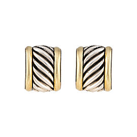 David Yurman 925 Sterling Silver 14K Yellow Gold Wide Cable Earrings