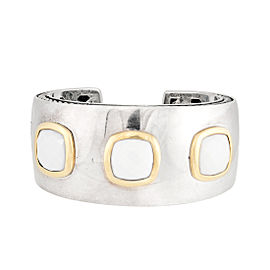 David Yurman Albion Sterling Silver & 18K Yellow Gold with White Agate Cuff Bracelet