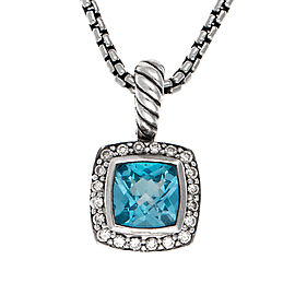 David Yurman Petite Albion Sterling Silver with Blue Topaz and Diamonds Pendant Necklace