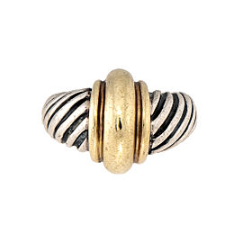 David Yurman 925 Sterling Silver 14K Yellow Gold Cable Ring Size 6