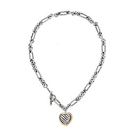 David Yurman Sterling Silver and 18K Yellow Gold Heart Necklace