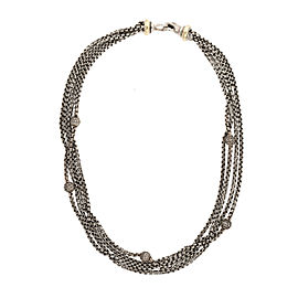 David Yurman 925 Sterling Silver 18K Yellow Gold 0.65ctw Diamond Necklace