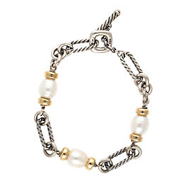 David Yurman Sterling Silver & 18K Yellow Gold Figaro Cultured Pearl Bracelet