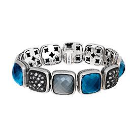 David Yurman Sterling Silver Blue Topaz and 0.80ct. Diamond Chiclet Bracelet