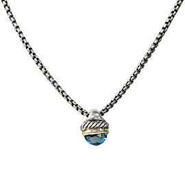 David Yurman Two Tone Blue Topaz Pendant Necklace