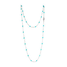 David Yurman Sterling Silver Turquoise Bead Necklace