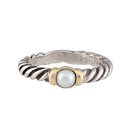 David Yurman Two-Tone Cultured Pearl Cable Ring Size 4.75