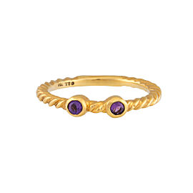 David Yurman 18K Yellow Gold Amethyst Stacking Ring Size 6