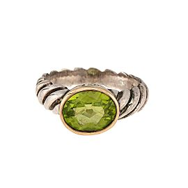 David Yurman 925 Sterling Silver, 18K Yellow Gold Peridot Noblesse Ring Size 5.25