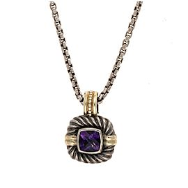 David Yurman 925 Sterling Silver 14K Yellow Gold Amethyst Pendant Necklace