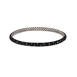 David Yurman 925 Sterling Silver 0.95ctw Black Diamond Bangle Bracelet