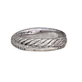 David Yurman 925 Sterling Silver 0.14ctw Diamond Crossover Ring Size 7