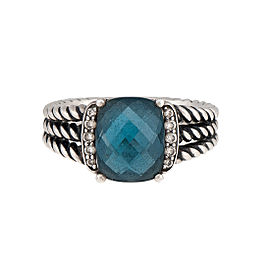 David Yurman 925 Sterling Silver Blue Topaz 0.08ctw Diamond Ring Size 7